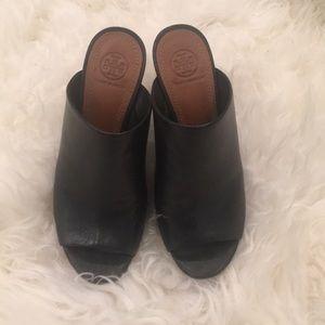 Tory Burch open toed leather heels